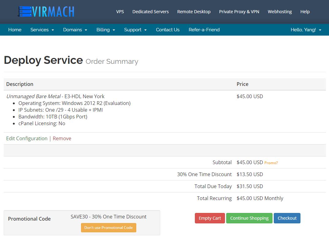 VirMach纽约机房E3 16GB内存1TB硬盘1Gbps/10TB流量月付低至31美元插图