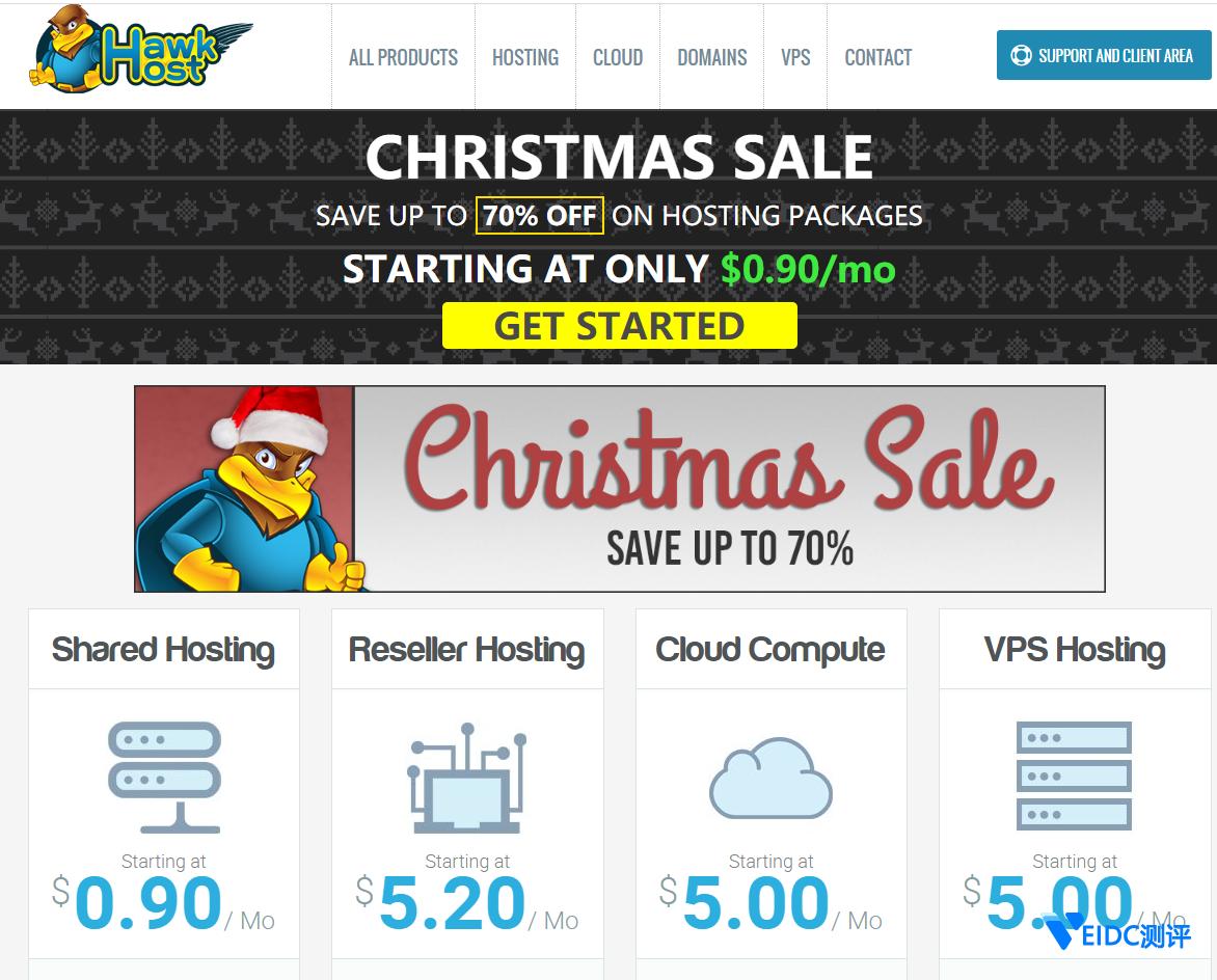 HawkHost圣诞节促销:香港云主机/美国虚拟主机三折,cPanel面板,无限流量,150元/2年插图
